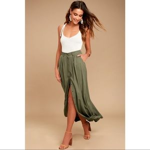 NWT $80 Women's My Squad Olive Green Maxi Skirt